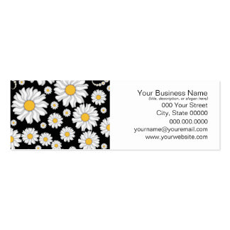 Cute White Daisies on Black Background Business Card