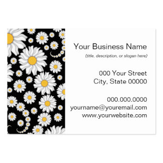 Cute White Daisies on Black Background Pack Of Chubby Business Cards