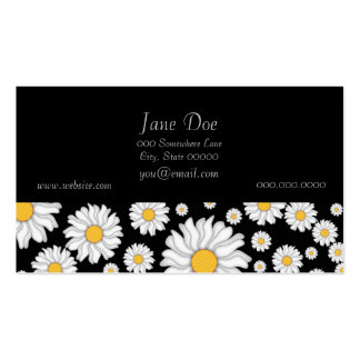 Cute White Daisies on Black Background Business Card Templates