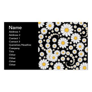 Cute White Daisies on Black Background Business Card Template