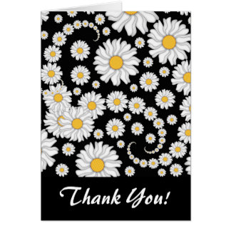Cute White Daisies on Black Background Note Card