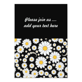 Cute White Daisies on Black Background 13 Cm X 18 Cm Invitation Card