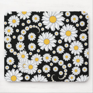 Cute White Daisies on Black Background Mouse Pad