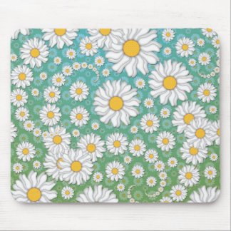 Cute White Daisies on Blue Green Mouse Pads