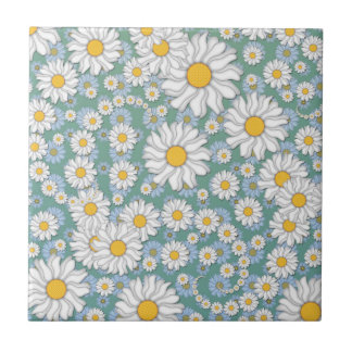 Cute White Daisies on Dusty Teal Blue Green Ceramic Tile