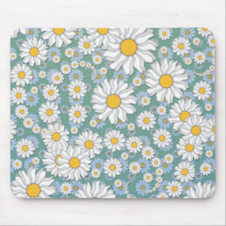 Cute White Daisies on Dusty Teal Blue Green Mouse Pad
