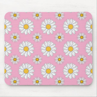 Cute White Daisies on Pink Pattern Mouse Pad