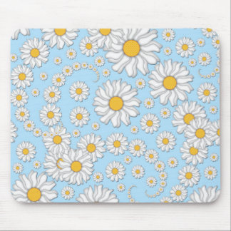 Cute White Daisies on Sweet Baby Blue Mouse Pads