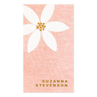 Cute White Daisy Flower Pink Business Card