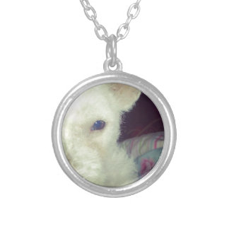 Cute white dog round pendant necklace
