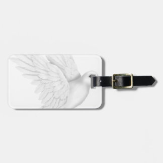 Cute white dove flying bag tag