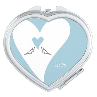 Cute White Doves in Love Light Blue Mirrors For Makeup