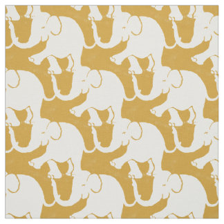 Cute White Elephants Pattern on mustard Fabric