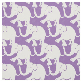 Cute White Elephants Pattern on Pale Purple Fabric