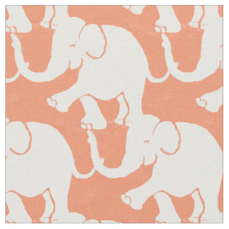 Cute White Elephants Pattern on Salmon Fabric