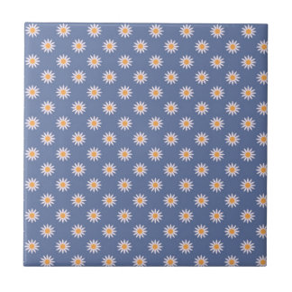 Cute White Flowers on Blue Pattern Small Square Tile
