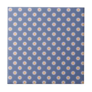 Cute White Flowers on Blue Pattern Tiles