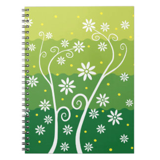Cute White Flowers on Green Background Notebook
