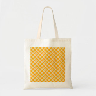 Cute white flowers on yellow, background tote bag