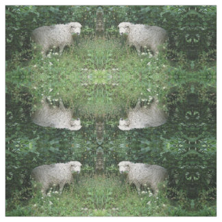 Cute White Fluffy Sheep Eating Patterned Animal Fabric