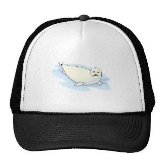 cute white fur seal cap