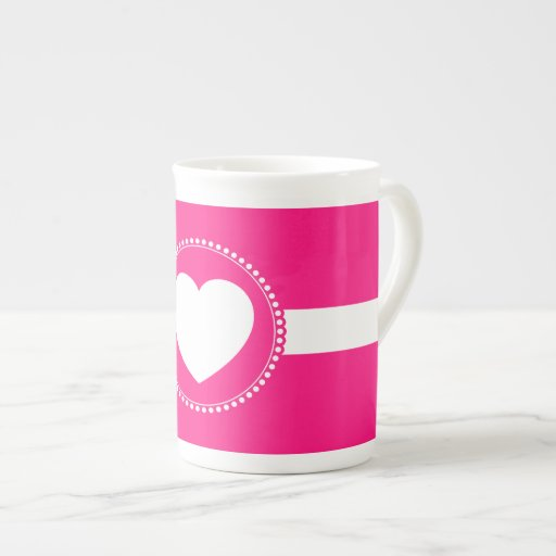 Cute White Heart in Scalloped Circle on Hot Pink Porcelain Mug