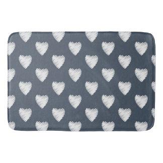 Cute White Hearts on Navy Blue Bath Mat