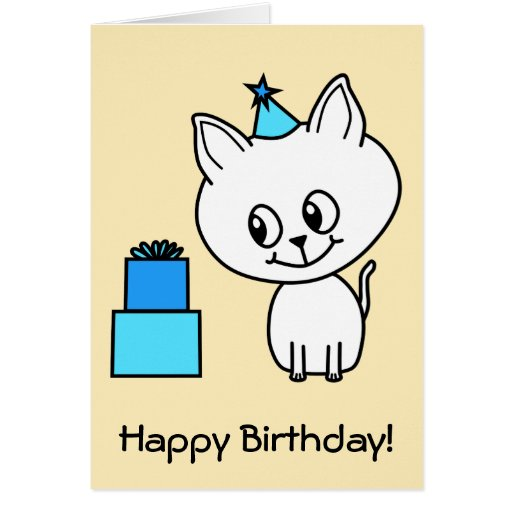 Cute White Kitten in a Blue Birthday Hat. Cards