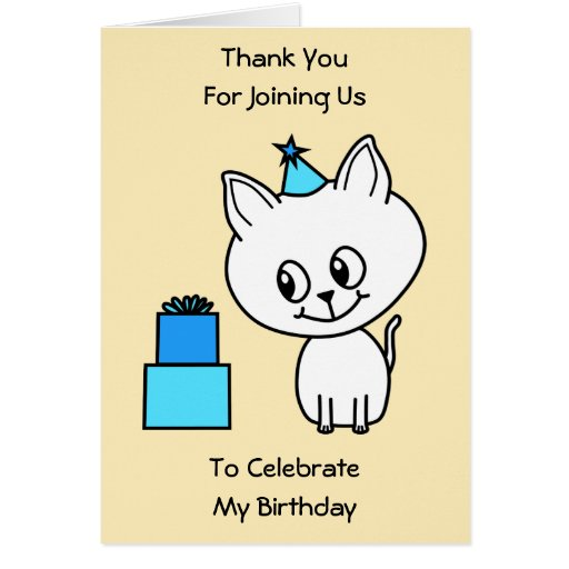 Cute White Kitten in a Blue Birthday Hat. Greeting Card