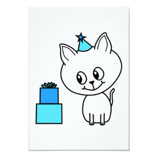 Cute White Kitten in a Blue Birthday Hat. Personalized Invites