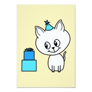 Cute White Kitten in a Blue Birthday Hat. Custom Announcements