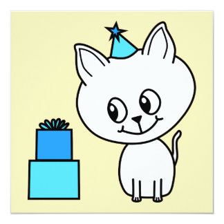 Cute White Kitten in a Blue Birthday Hat. Invitations