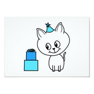 Cute White Kitten in a Blue Birthday Hat. Invites
