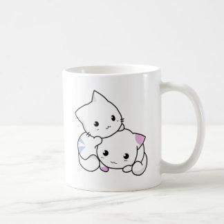 Cute White Kittens Hugging Coffee Mug