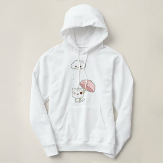 cute white kitty under a raining cloud hoodie
