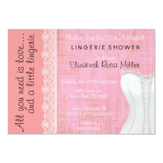 Cute White Lace Corset Lingerie Bridal Shower 13 Cm X 18 Cm Invitation Card