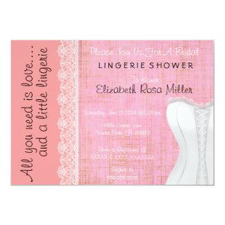 Cute White Lace Corset Lingerie Bridal Shower Personalized Announcements