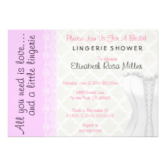 Cute White Lace Corset Lingerie Bridal Shower Personalized Invites