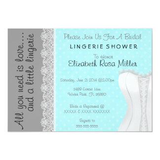Cute White Lace Corset Lingerie Bridal Shower 5x7 Paper Invitation Card
