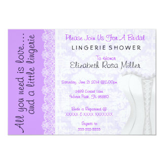 Cute White Lace Corset Lingerie Bridal Shower 13 Cm X 18 Cm Invitation Card