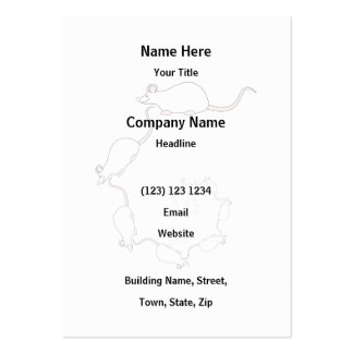 Cute White Mouse Design. Spiral of Mice. Business Card Template