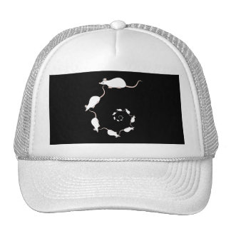 Cute White Mouse Design. Spiral of Mice. Trucker Hats