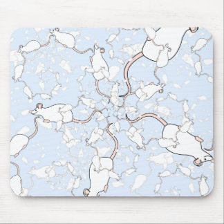Cute White Mouse Pattern. Mice on Blue. Mouse Pad