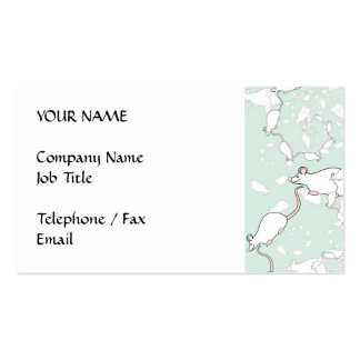 Cute White Mouse Pattern. Mice, on Green. Business Card Template