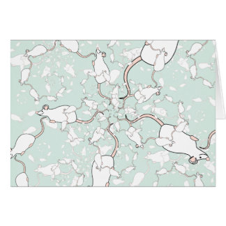 Cute White Mouse Pattern. Mice, on Green. Card