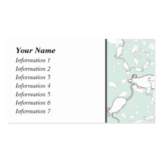 Cute White Mouse Pattern. Mice, on Green. Pack Of Standard Business Cards
