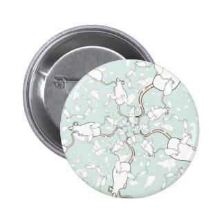 Cute White Mouse Pattern Mice on Green Pins