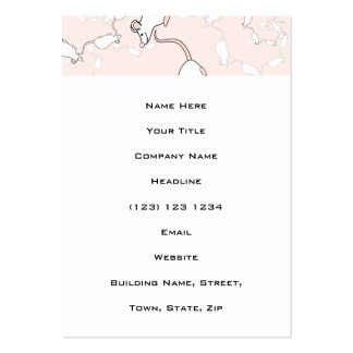 Cute White Mouse Pattern. Mice on Pink. Business Cards