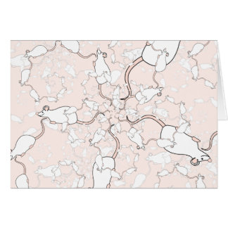 Cute White Mouse Pattern. Mice on Pink. Note Card