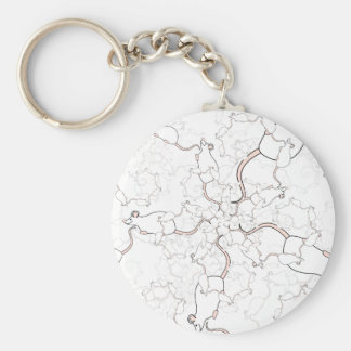 Cute White Mouse Pattern. Mice on White. Basic Round Button Key Ring